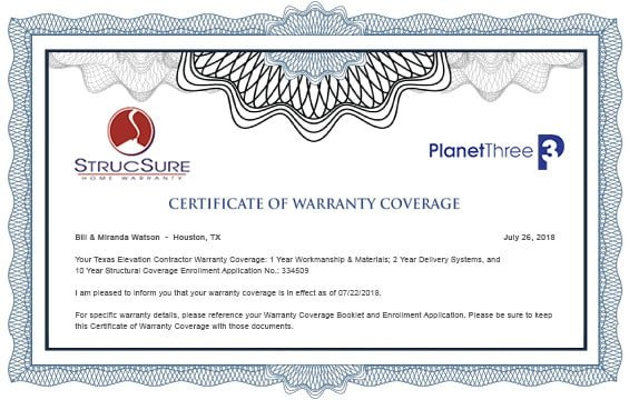 House Elevation Lifetime Structural Warranty - Planet Three & StrucSure