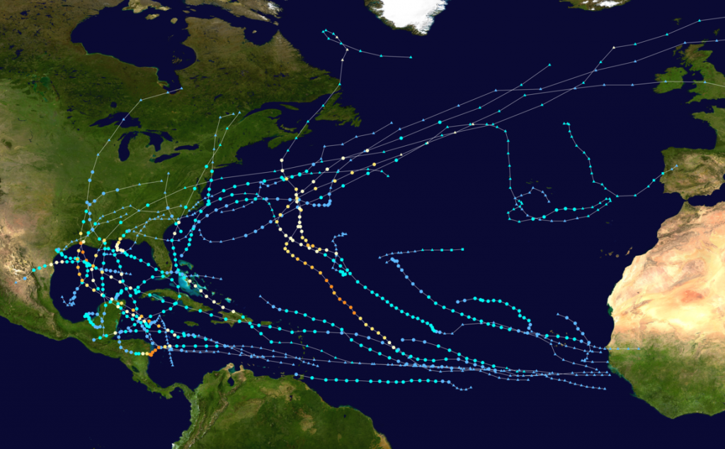 2020 Atlantic Hurricane Season Map
